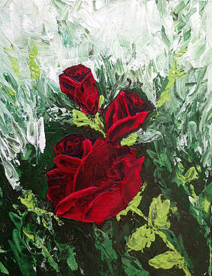 Impressionism Painting - Red Roses In Bloom by Roxy Rich