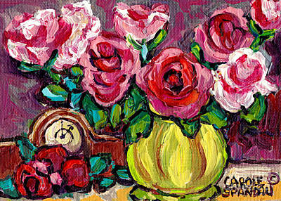 Painting - Red Roses In Green Vase With Clock Still Life Colorful Original Painting By Carole Spandau by Carole Spandau