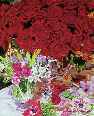 Painting - Red Roses In Silver by David Lloyd Glover