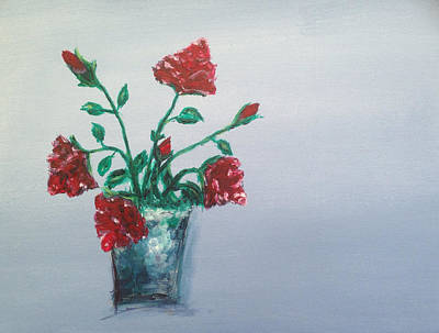 Red Painting - Red Roses In Silver Pot by Roxy Rich