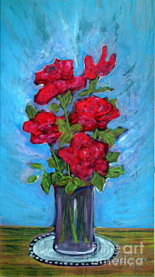 Folkartanna Painting - Red Roses In The Vase by Anna Folkartanna Maciejewska-Dyba