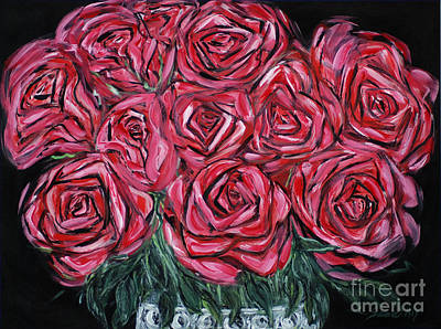 Painting - Red Roses. Inspirations Collection. Painting 2015 by Oksana Semenchenko