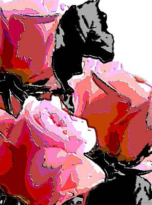 Impressionism Digital Art - Red Roses by Katrina Britt