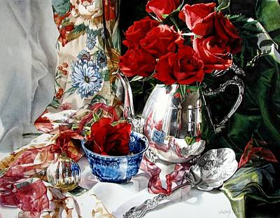 Teapot Painting - Red Roses by Kimberly Meuse