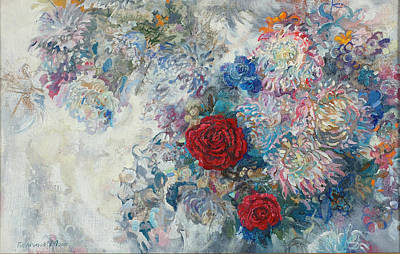 Painting - Red Roses by Maya Gusarina