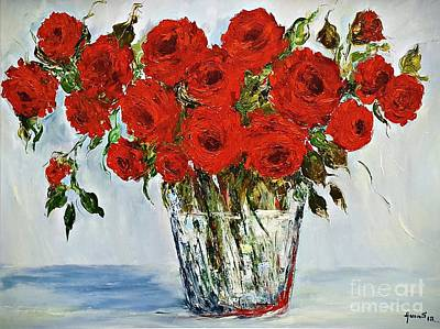 Painting - Red Roses Memories by AmaS Art