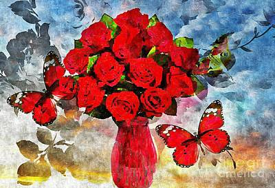 Digital Art - Red Roses On Blue by Maria Urso