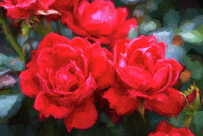 Photograph - Red Roses - Photopainting by Allen Beatty