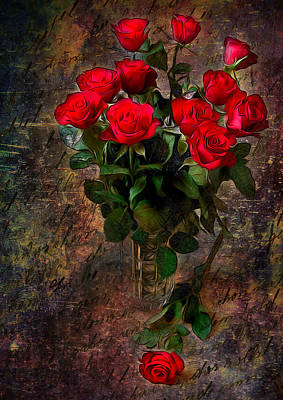 Florals Digital Art - Red Roses by Svetlana Sewell