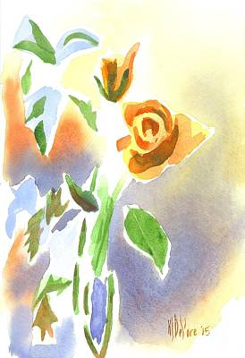 Red Roses With Holly In A Vase Art Print by Kip DeVore