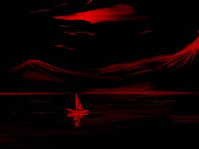 Red Sail Art Print