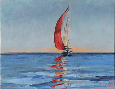 Painting - Red Sail Early Sunset by Trina Teele