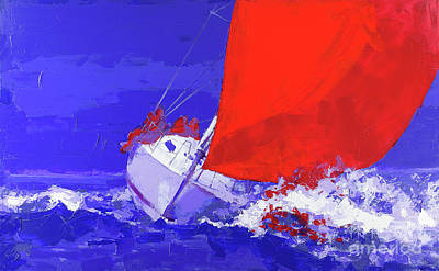 Wall Art - Painting - Red Sail Regatta by Anatoli Titarenko