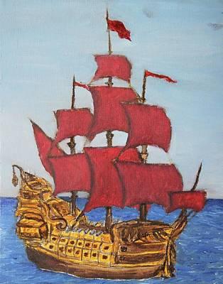 Blackbeard Painting - Red Sail Ship by Sam Pako