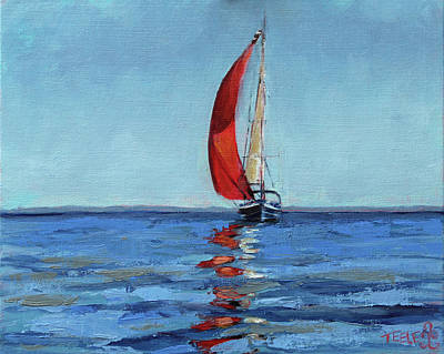 Painting - Red Sail by Trina Teele