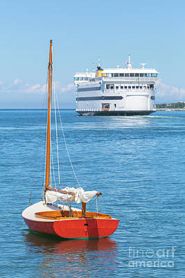 Photograph - Red Sailboat And Ferry I by Clarence Holmes