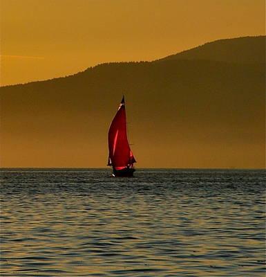 Red Sailboat Art Print