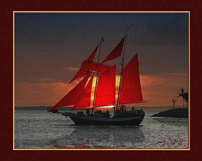 red sails at sunset in Key West Art Print by John D Breen