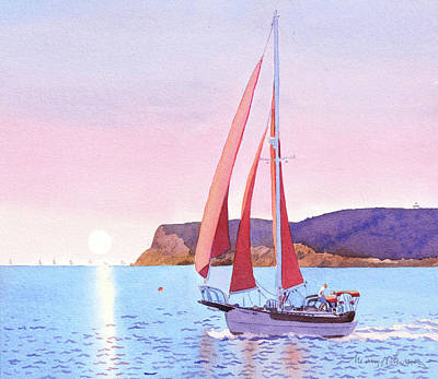Painting - Red Sails In The Sunset Pt Loma by Mary Helmreich