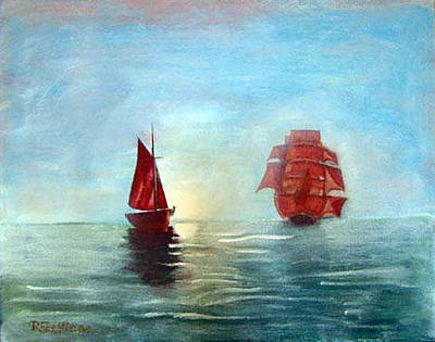 Painting - Red Sails In The Sunset by Richard Le Page