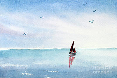 Painting - Red Sails On A Blue Sea by Pattie Calfy