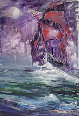 Wall Art - Painting - Red Sails Voyage  by Larissa Pirogovski