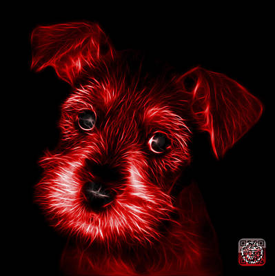 Digital Art - Red Salt And Pepper Schnauzer Puppy 7206 F by James Ahn