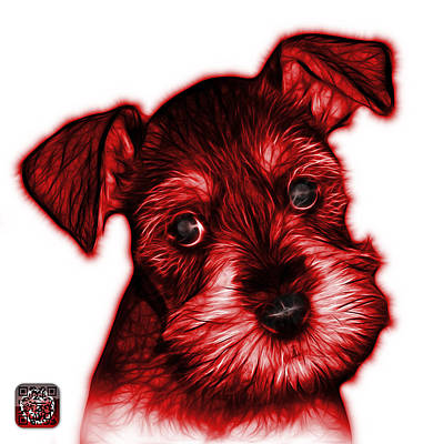 Digital Art - Red Salt And Pepper Schnauzer Puppy 7206 Fs by James Ahn