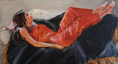 Red Satin Jammies Art Print by Roseann Munger