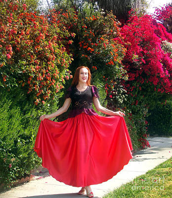 Red Satin Maxi Skirt. Ameynra Style - By Sofia Art Print by Sofia Metal Queen