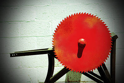 Circular Saw Blade Photograph - Red Saw Blade by Cynthia Guinn