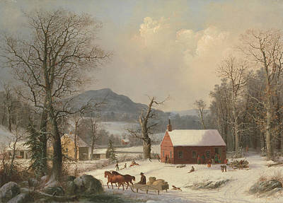 Red School House Painting - Red School House  by George Henry Durrie