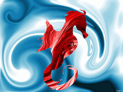 Soul Painting - Red Seahorse Swirling Dreams by Abstract Angel Artist Stephen K