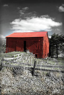 Digital Art - Red Shack Landscape by Joan  Minchak