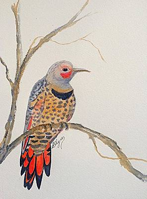 Painting - Red - Shafted Flicker - Woodpecker  by Ellen Levinson