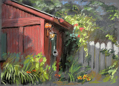 Pastel Barns Painting - Red Shed by Christopher Reid