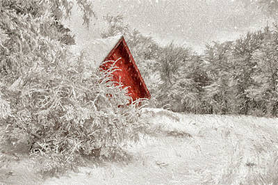 Red Barn In Snow Digital Art - Red Shed In The Snow by Lois Bryan