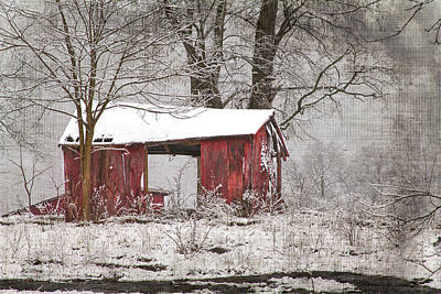 Shed Digital Art - Red Shed In The Snow by Sharon Horn