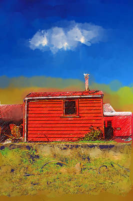 Little Red River Digital Art - Red Shed Little River by Sam Barrow