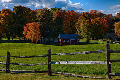 Photograph - Red Sheds And Orange Fall Foliage by Jeff Folger