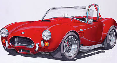 Cobra Mixed Media - Red Shelby Cobra by Mike McNally