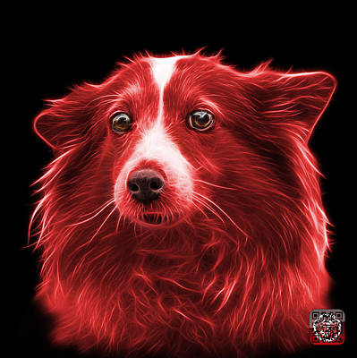 Mixed Media - Red Shetland Sheepdog Dog Art 9973 - Bb by James Ahn