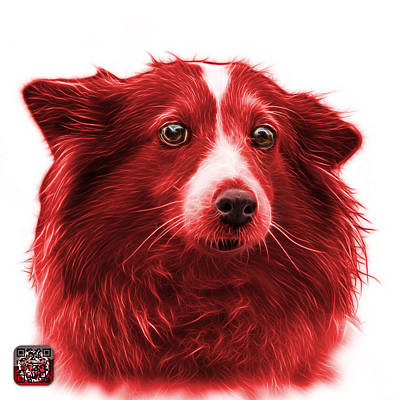 Mixed Media - Red Shetland Sheepdog Dog Art 9973 - Wb by James Ahn