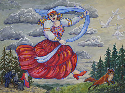 Painting - Red Shoes And Swans by Shoshanah Dubiner