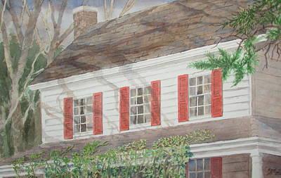 Painting - Red Shutters House by Tony Caviston