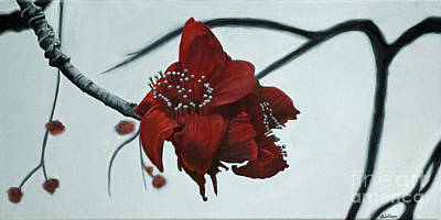 Red Silk Cotton Flower Original by Jennifer Watson