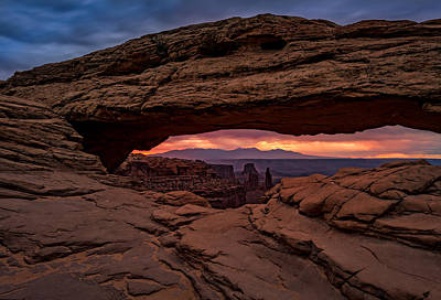 The Plateaus Photograph - Red Skies At Mesa Arch by Rick Berk