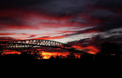 Photograph - Red Skies At Pleasure Island Bridge by Judy Vincent