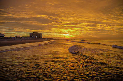 Seascape Photograph - Red Skies Over Ocean City New Jersey by Bill Cannon