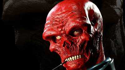 Red Digital Art - Red Skull by Super Lovely